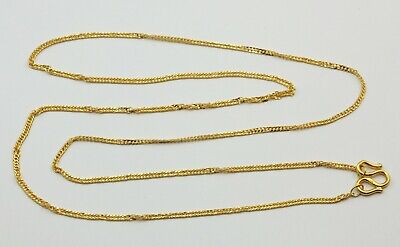 24K Solid Yellow Gold Twisted Flat Cuban Chain Necklace 4.4 Grams
