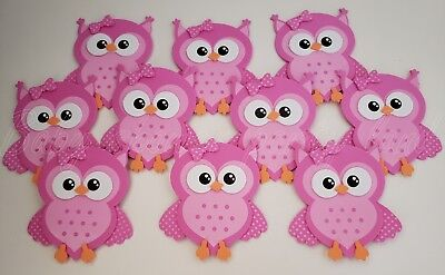 10 Pink Foam Owls Baby Shower Party Decorations its a Girl Favors Prize Recuerdo (Owls Baby Shower)