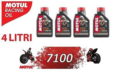 Olio Motore Moto Motul 7100 4T 10W50 100% Sintetico ESTER JASO MA2 - 4 litri LT
