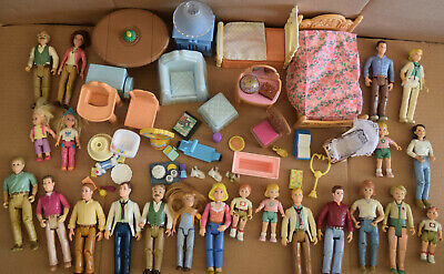 lot of Fisher Price Loving Family Dollhouse figures and furniture