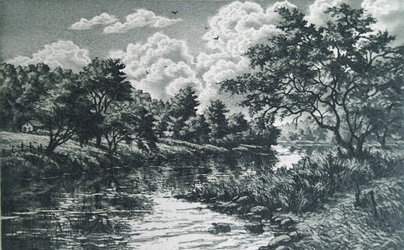 """Kathleen Cantin """"Lost River"""" Color etching 5.50 x 3.50 size Retails $60"""