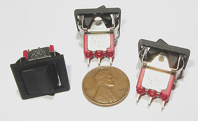 3 Pcs - Ck 7101 Rocker Switch 125v 5a 250v 2a Mini Snap-in Spdt On-on Black
