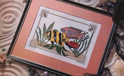 TROPICAL FISH, Cross Stitch Pattern, COLORFUL OCEAN FISH DESIGN