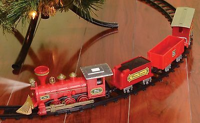 Christmas Holiday Tree Train Set 4 Piece Moving Cars Engine Caboose with Track - Moving Train Set
