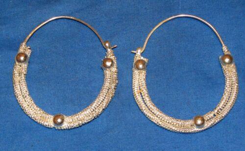 """Earrings Hoop Rope Afghan Kuchi Tribal Alpaca Silver 1 3/4"""" or 2 1/2"""""""