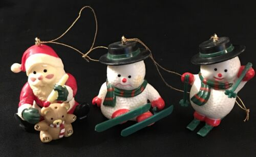 Vintage Christmas Ornament Set Santa with Teddy Bear Snowman Skiing