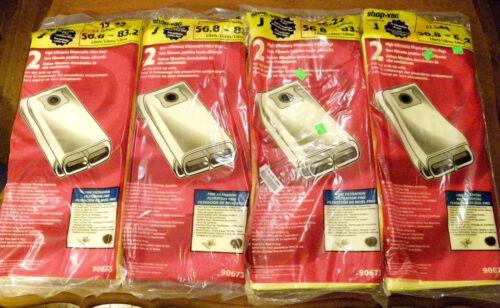 Shop Vac Type J Vacuum Bag - 15-22 Gallon - Item 90673 - 4 pks of 2 Filters
