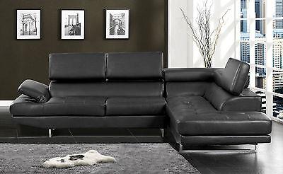 Black Color Sectional Sofa Contemporary Style Bonded Leather Chrome Leg Sofa Set Chrome Sectional Sofa