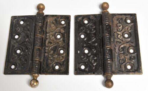 VINTAGE PAIR OF EASTLAKE STYLE DOOR HINGES 4 1/2 X 4 1/2 ARCHITECTURAL SALVAGE 8