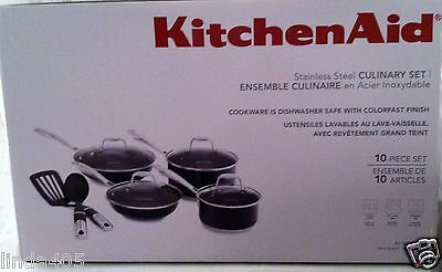 KITCHENAID 10 PIECE STAINLESS CULINARY COOKWARE SET NONSTICK