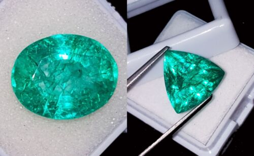 8 to 10 Cts 2 Pieces Natural Emeralds Certified Loose Gemstones RK49