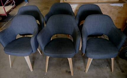 Ex Rental Replica Hille Grey Kim Tub Armchairs Timber Chairs Richmond Yarra Area Preview
