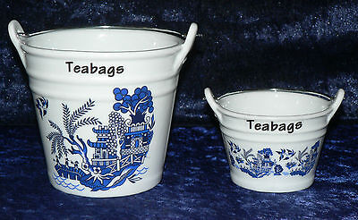 Blue willow teabag tidy Bucket, dec with willow pattern in choice of 2 sizes