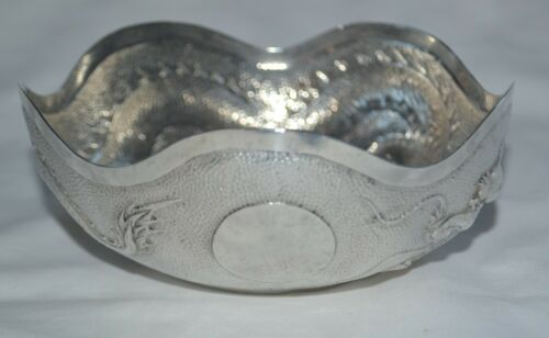 Antique Chinese Export Silver Dragon Bowl Sing Fat Canton Early 20th Century