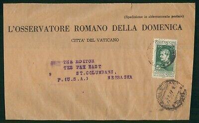 Mayfairstamps Vatican 1937 to Nebraska L'Osservatore Romano Wrapper wwo88795