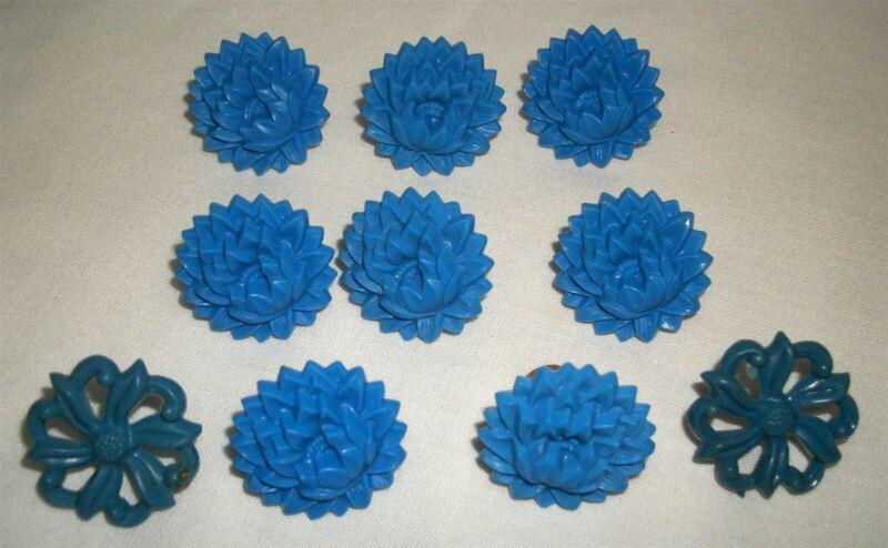 Vintage Blue Plastic Flower Push Pin Curtain Tie Back Lot Floral