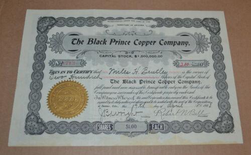 The Black Prince Copper Company 1908 antique stock certificate
