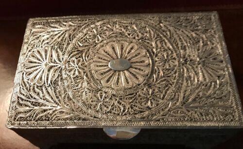 Large Antique Silver Filigree Rectangular Box