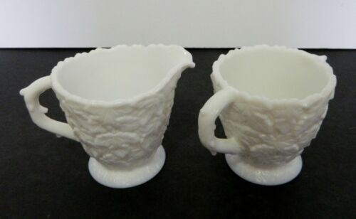 Westmoreland Bramble Milk Glass Footed Open Sugar and Creamer Set Maple Leaves
