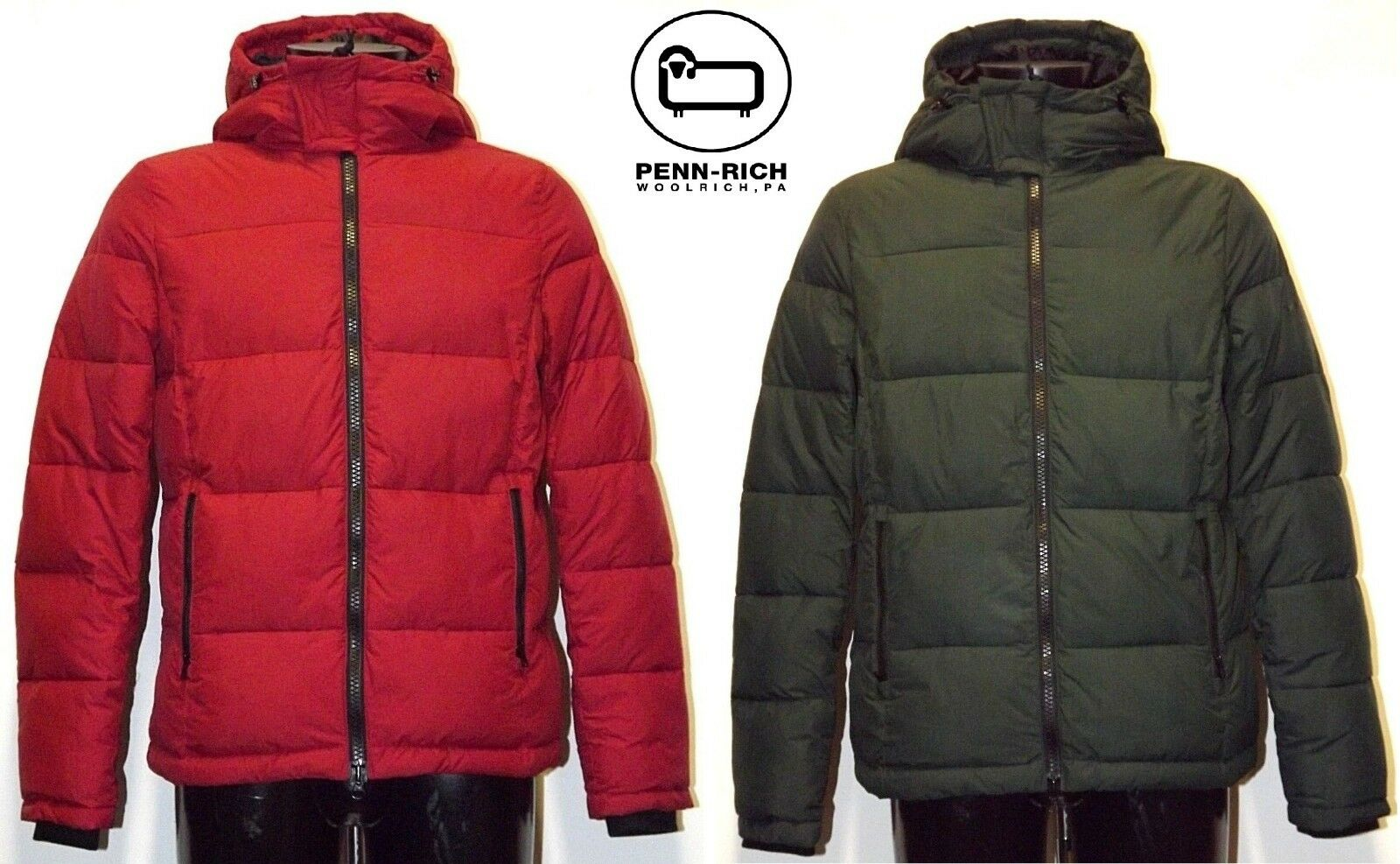 PENN-RICH by WOOLRICH QUILTED HOODIE JACKET GIACCA PIUMINO GIUBBOTTO IMBOTTITO