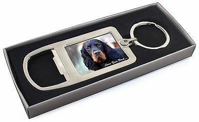 Gordon Setter 'Love You Dad' Chrome Metal Bottle Opener Keyring in Bo, DAD-38MBO