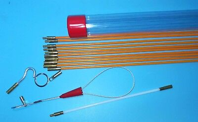 316 X 11 Fiberglass Wire Cable Running Rods Fish Pulling Wire Holder Kit