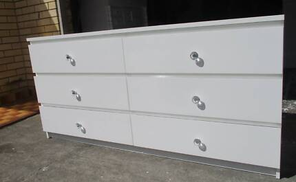 REFURBISHED CHEST OF 6 DRAWERS LOW BOY GLOSS WHITE