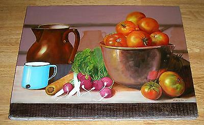 VINTAGE GARDEN TOMATOES VEGETABLES RED RADISHES KITCHEN PITCHER CUP OIL PAINTING