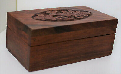 VINTAGE HAND MADE CARVED WOODEN BOX ANTIQUE TRINKET JEWELLERY CHEST 14