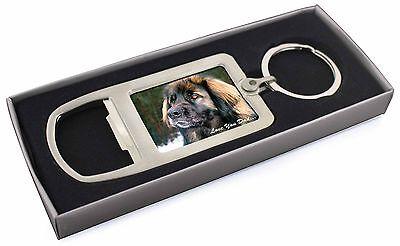 Leonberger Dog 'Love You Dad' Chrome Metal Bottle Opener Keyring in B, DAD-68MBO