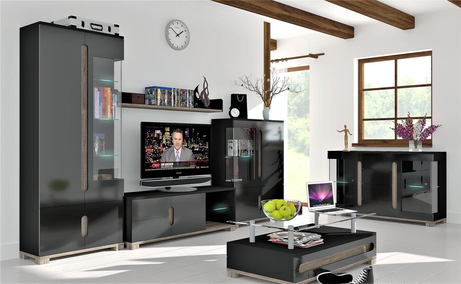 Lorenz Black Gloss Sideboard Tv Cabinet Display Unit Coffee Table Furniture