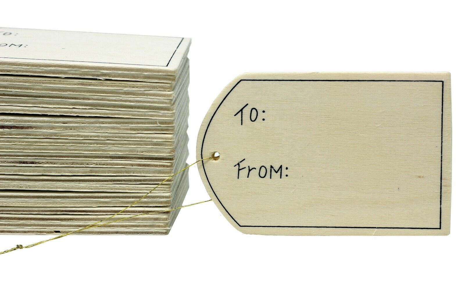 24 Pack – Unfinished Wood Gift Tag Ornaments with Gold Hanger Cords, 3.5 Inch Crafting Pieces