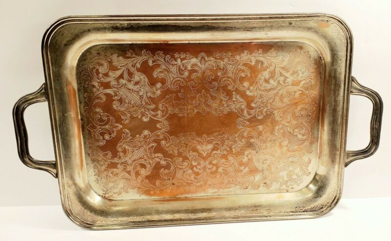 Antique Gotham Silver On Copper Large Serving Tray Platter 518 Etched Weddings