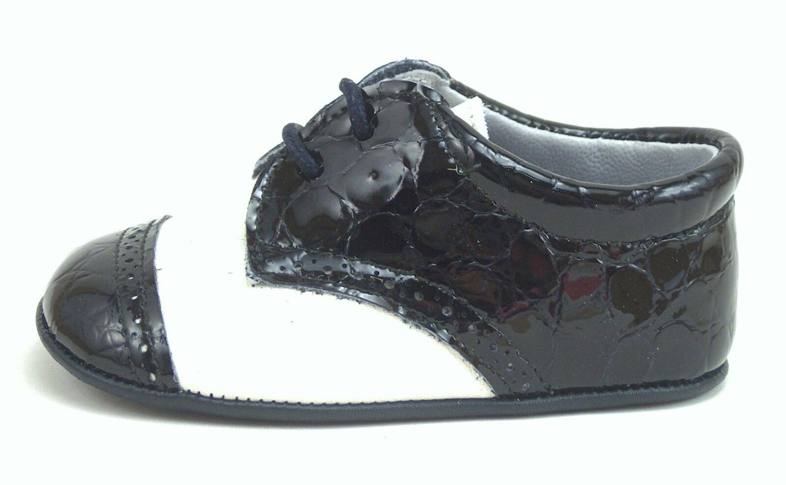 DE OSU - Baby Boys Euro Ivory Navy Croc Dress Crib Shoes DO-136 - Size 0 Size 2  1