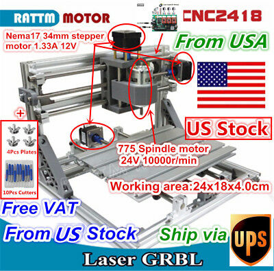 Usa-stock3 Axis Diy Desktop Cnc 2418 Wood Engraving Milling Machine Router Kit