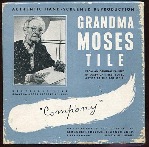 Grandma Moses Tile #105 in Orig Box ~ 1952 ~ Company ~ Winter Scene / Sleighs