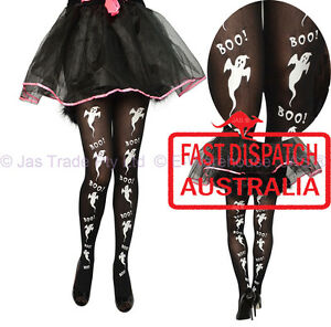 Halloween-Costume-White-Ghost-Fancy-Dress-Tights-Pants-Pantyhose-BLACK
