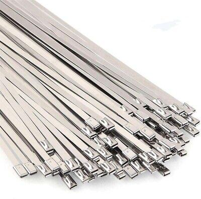 100-500pcs 8in-18in Metal Zip Ties Stainless Steel Self-lock Ties Exhaust Wrap