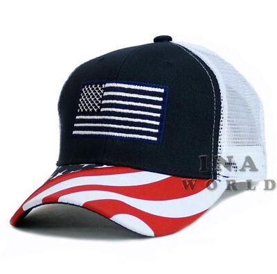 USA American Flag hat Stars and Stripes Flag bill Mesh Baseball cap- Navy/White