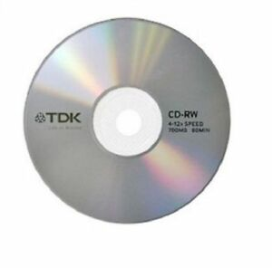 TDK CD-RW 4x-12x 700mb 80min Blank Rewritable 5 Discs in Sleeves