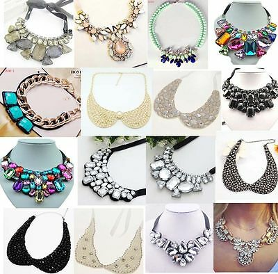 Fashion Charm Jewelry Crystal Chunky Statement Bib Collar Chain Choker Necklace