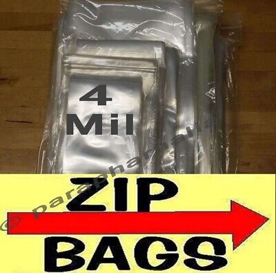 Clear Zip Lock Reclosable Bags 4-mil Heavy-duty Plastic Zipper Seal Bags