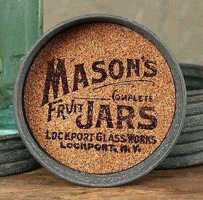 SALE! Unique Primitive Rustic LOCKPORT Mason's Fruit Jar Lid Coaster Lot Set 4