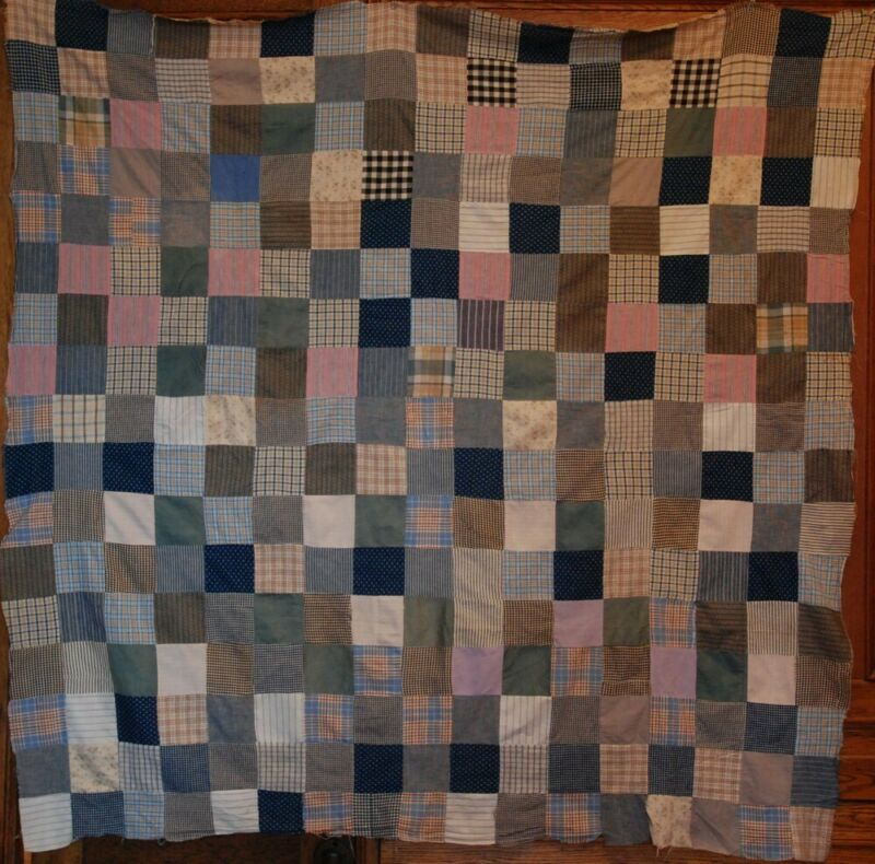 BLUE BROWN PINK OHIO ANTIQUE QUILT TOP ~ VINTAGE INDIGO CHAMBREY PLAID CHECKS