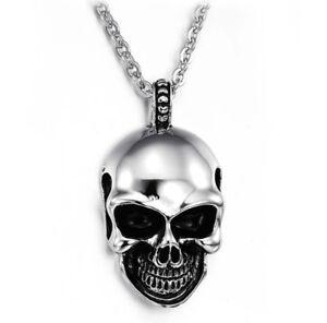 Fashion Men's Punk Skull Head Pendant Choker Chain Hip Hop Necklace Jewelry