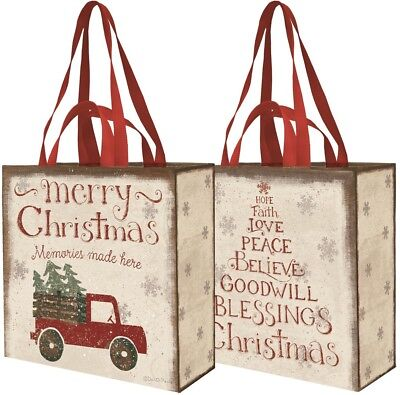 PRIMITIVES BY KATHY MERRY CHRISTMAS 2 SIDED RECYCLED MARKET TOTE BAG RED TRUCK