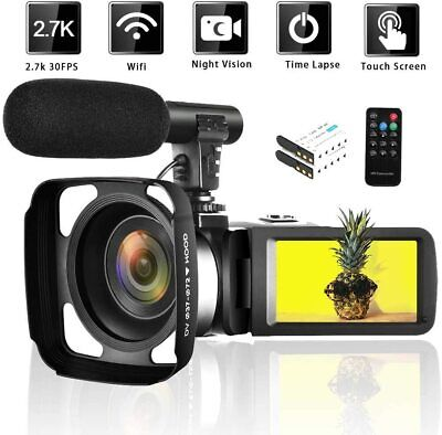 Camcorder Video Camera 2.7K WiFi Vlogging Camera Night Vision Digital Camera wit