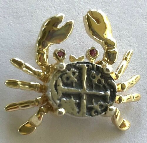 ATOCHA Coin Pendant Crab 14K Yellow Gold Ruby Pirate Sunken Treasure Jewelry