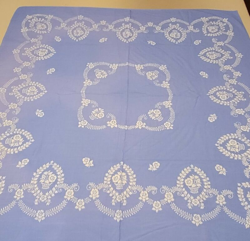 """Vintage Mid Century Linen/Cotton Embroidery Tablecloth 48"""" Blue/White Square"""