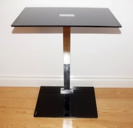 Laptop Stand Table Glass Black Chrome Computer Notebook Desk Portable